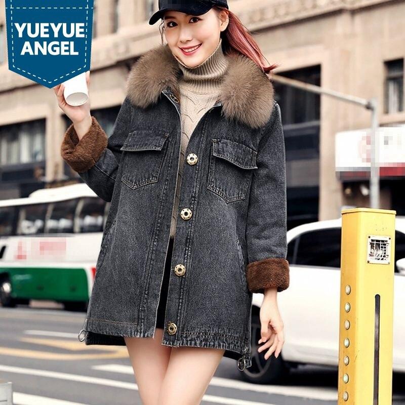 Blue Multi Fermeture Jeans Loose black Nouvelle Femmes Éclair Fit Vêtements De Chauds Col Denim Longue Mode À D'extérieur Couleur Longues Hiver Manches 2019 Fourrure Pour Manteaux Bleu BYwqH4B