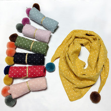 Весенний хлопковый шейный платок для маленьких девочек и мальчиков, Детский мягкий треугольный шарф, милые детские шарфы в горошек, хлопковый нагрудник, воротники