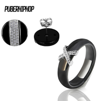 Hot Black White Ceramic Earrings Fashion Jewelry Set For Women Good Quality Rings Stud Earrings Set