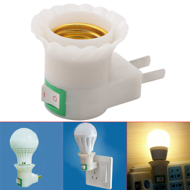 1X E27 Light Socket To US Plug Holder Adapter Converter ON/OFF For Bulb Lamp