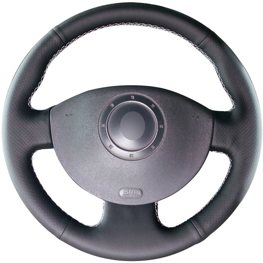 Black Genuine Leather Hand-stitched Car Steering Wheel Cover for Renault Megane 2 2003-2008 Kangoo 2008 Scenic 2 2003-2009