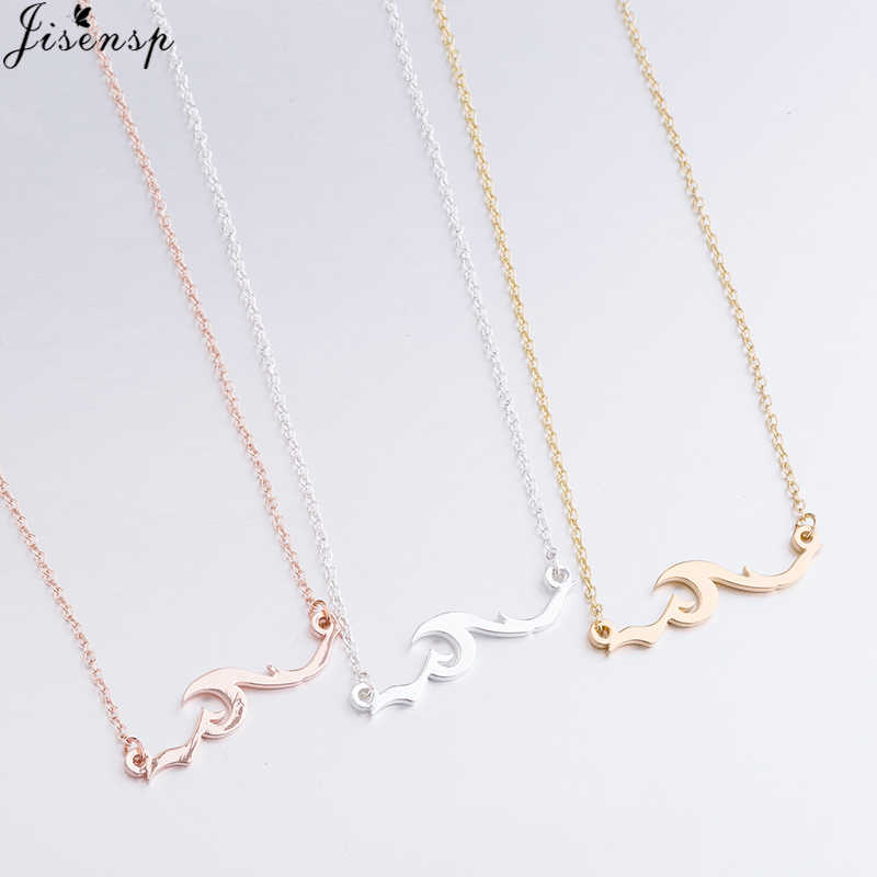 Jisensp Bohemian Ocean Wave Pendant Necklace Simple Fashion Surge Long Chain Necklace Geometric Jewelry for Women Girls Gift