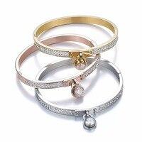 2018 New Women Bangles Bracelets Gold Color Stainless Steel Key Charm Padlock Trendy Rose Gold Silver