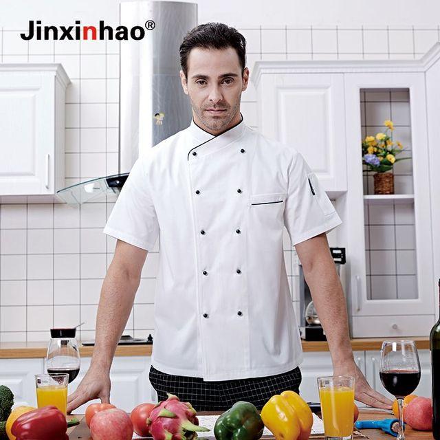 Kualitas Tinggi Chef Seragam Pria Dan Wanita Lengan Pendek Musim Panas Pakaian Kerja Dapur Masak Jaket