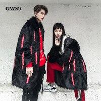 Men Long Design Faux Fur Leather Coats High Street Fashion Hip Hop Autumn Winter Male Women