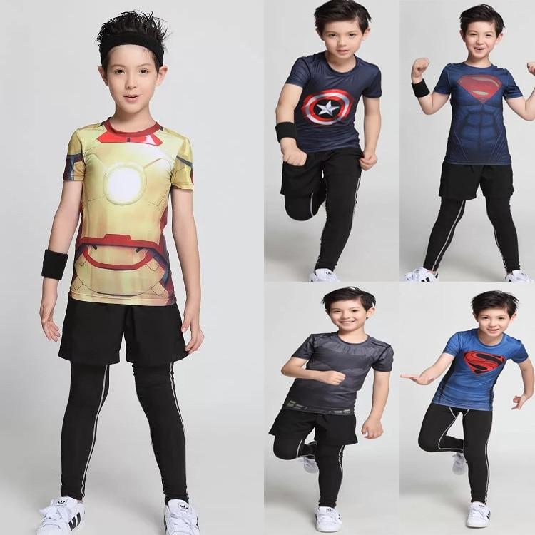 Kids sport fitness compression shirt superman bodybuilding short sleeve quick dry crossfit 3d t shirt