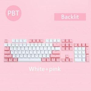 Image 4 - 104 клавиши/комплект, колпачки для ключей PBT, механическая клавиатура с двойным снятием, колпачки для ключей с подсветкой, розовые, синие, белые, для Ajazz AK35I и других MX переключателей