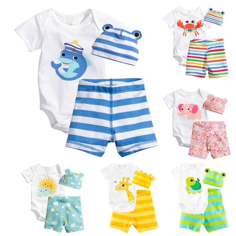 3Pcs Baby Girls Clothing Sets Summer Baby Rompers Short Sleeve Baby Boy Clothes Newborn Baby Clothes Roupas Infant Jumpsuits цена