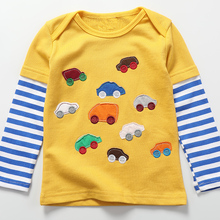 Boys T-shirt Kids Tees Baby Boy model tshirts Children blouses Long Sleeve 100% Cotton vehicles vehicles stripes free delivery