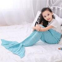 New Warm Knitted Mermaid Blanket Princess Fish Tail Kids Sofa Sleeping Bag Autumn Soft Crochet Wrap Bedding