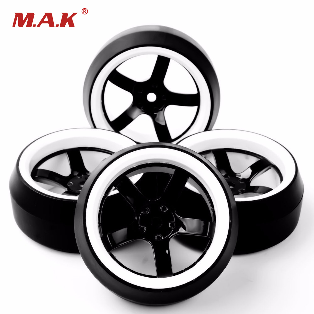 1/10 Scale RC Car Tires And Wheels Model For 1/10 On-Road Vehicles Model Accessory 4pcs/Set Hobby   Collections rc car sponge tires and wheel 12mm hex foam tires for 1 10 scale on road racing car model toys accessory