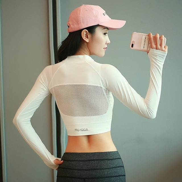 4760dff86e Women Sexy Mesh Yoga Crop Tops Yoga Shirts Long Sleeve Workout Tops Fitness  Running Sport T-Shirts Training Yoga Sportswear New