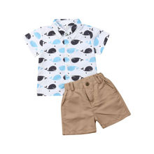 2PCS Toddler Baby Boys Cartoon Embroidery Whale Tops T-Shirt Shorts Outfits Set Clothes toddler boy clothes children arloneet toddler kids baby boy plaid t shirt tops shorts pants 2pcs outfits clothes set feb23 p