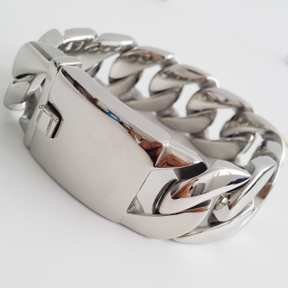 26mm 32mm lourd Top qualité polissage argent en acier inoxydable coulée cubaine lien chaîne Bracelet fort hommes manchette bijoux