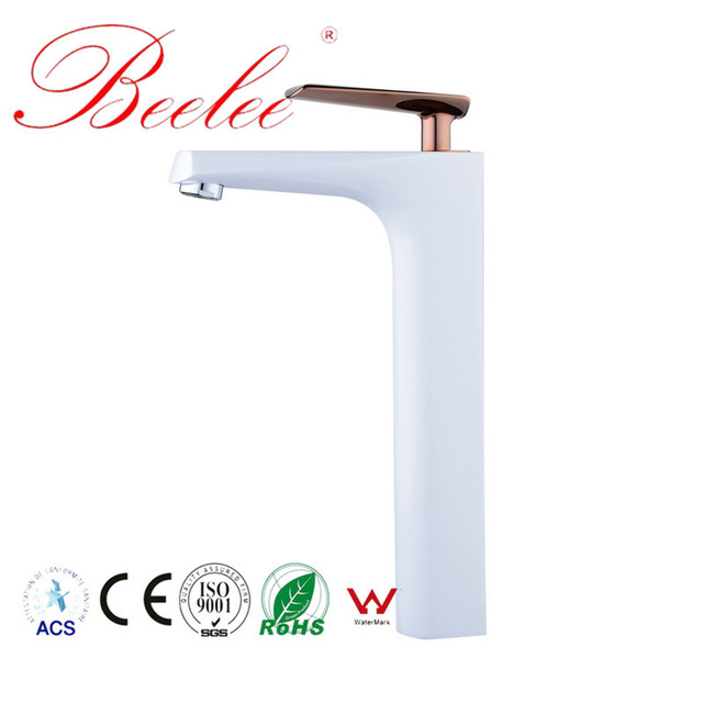 Beelee Bathroom Basin Faucet White And Rose Gold Electroplating Sink Faucet Popular Hot And Cold Water Mixing Tap For Lavatory