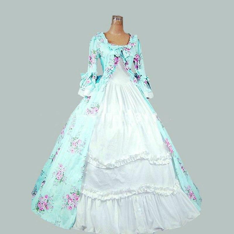 2018 robe de soirée gothique victorienne pour femmes 18th Century Flora imprimé motif col carré mascarade robes de bal