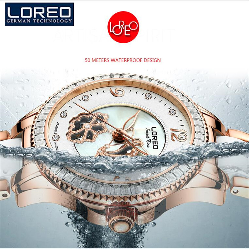 LOREO Fashion Women'S Watches Diamond Ladies  Mechanical Wristwatches Dress Casual Bracelet Watches Relogios Femininos K52 time100 fashion women s watches simulated ceramic diamond ladies quartz watch dress casual bracelet watches relogios femininos