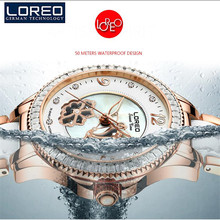 LOREO Fashion Women'S Watches Diamond Ladies  Mechanical Wristwatches Dress Casual Bracelet Watches Relogios Femininos Ok52