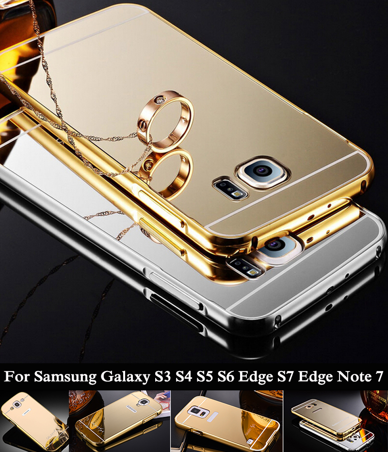 Mirror Case For Samsung Galaxy Note 7 S7 S7 Edge S6 Edge S5 S4 S3 Aluminum Metal Frame + Acrylic Back Cover For Samsung Note 7 ;