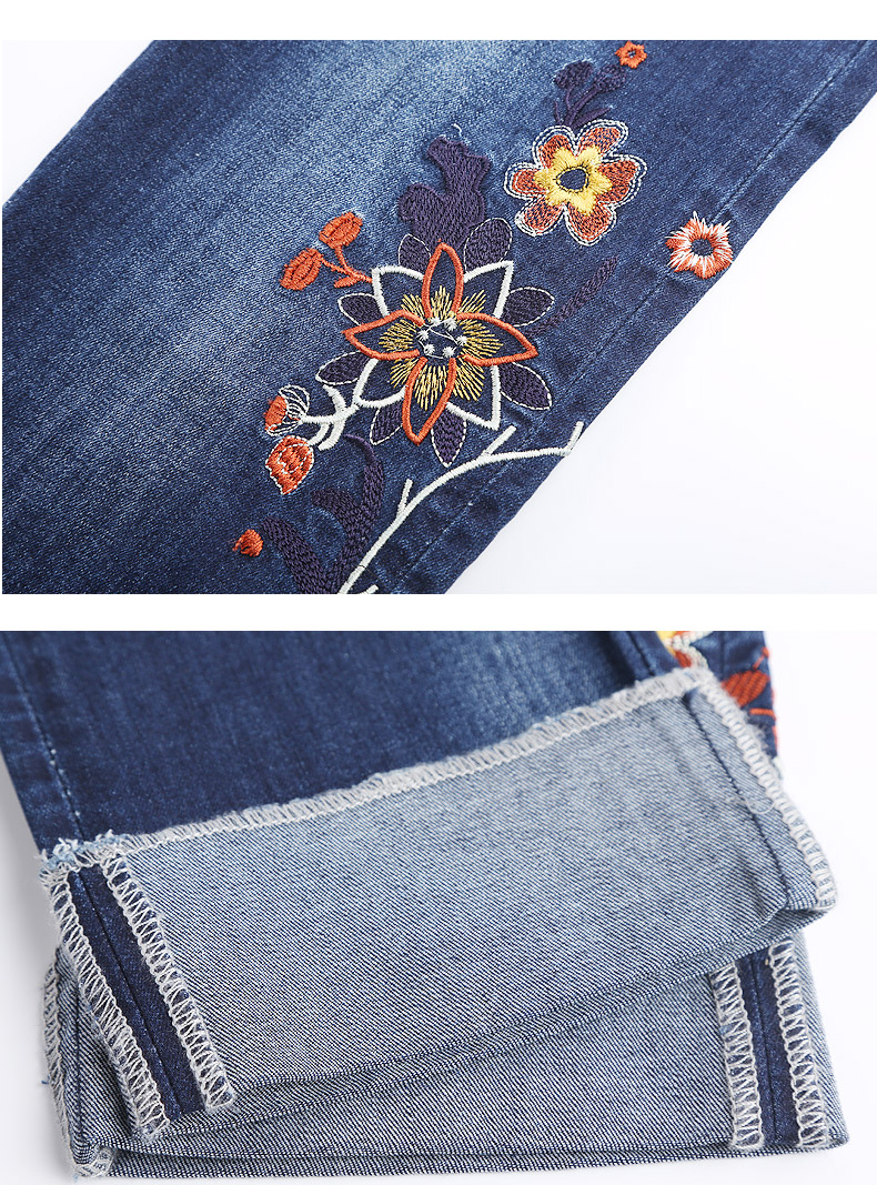 KSTUN Womens Jeans Slim Straight High Waist Quality Brand Summer Embroidered Floral Stretch Cuffs Denim Pants Casual Large Size 20