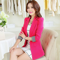 women blazers 2016 Spring plus size short suit jacket female long-sleeve slim candy color elegant Striped cuffs blazer jacket