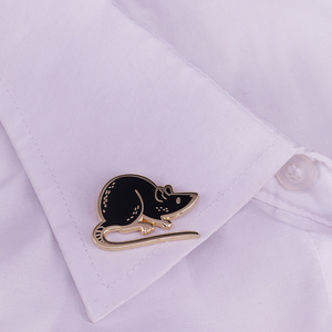 Image 3 - Black mouse enamel pin hooded rat brooch cute pet badge funny animal jewelry kids gift unisex shirt jacket accessory