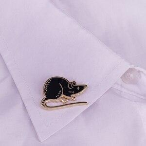 Image 3 - Preto mouse esmalte pino com capuz broche de rato bonito animal de estimação crachá engraçado animal jóias crianças presente unisex camisa jaqueta acessório