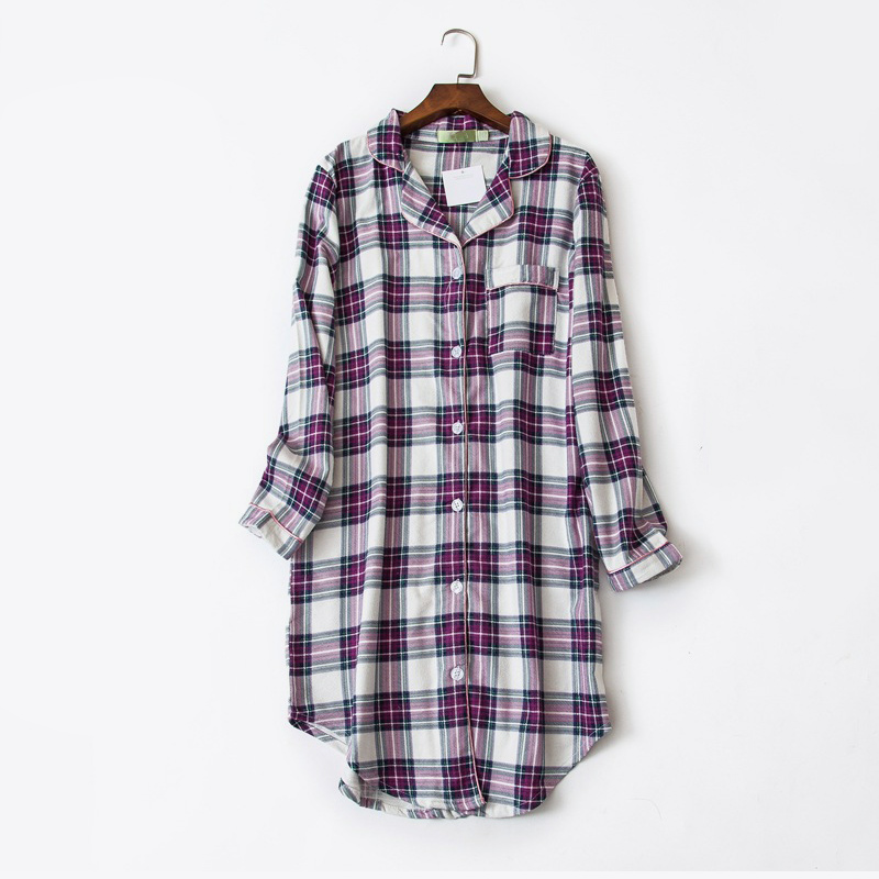 Plaid Cotton Long Sleeve Women   Sleepshirts   Button Irregular Spell Color Female Home Clothes 2018 Autumn Loose Fashion   Nightgown