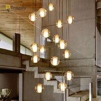 LED נברשות אורות לופט קפה חדר שינה תאורה lustres e נברשות para sala de jantar מודרני זכוכית תליון מנורות