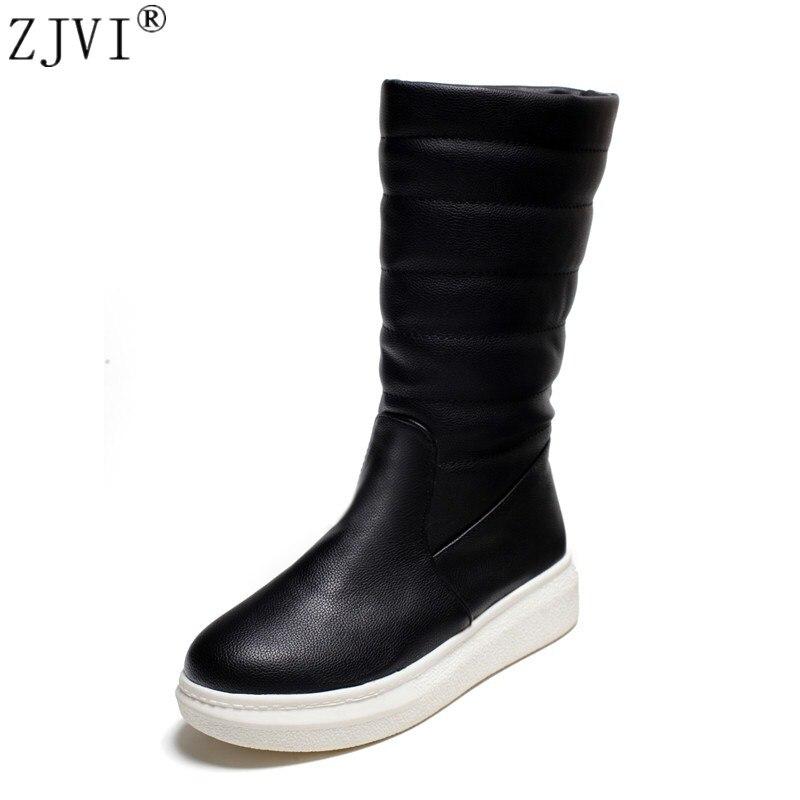 ZJVI invierno mujer mitad de la pantorrilla botas de nieve planas - Zapatos de mujer