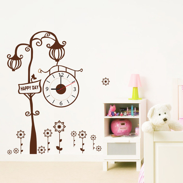 2017 New Modern Clock Watch Wall Stickers Brown Creative Tree Living Room Free