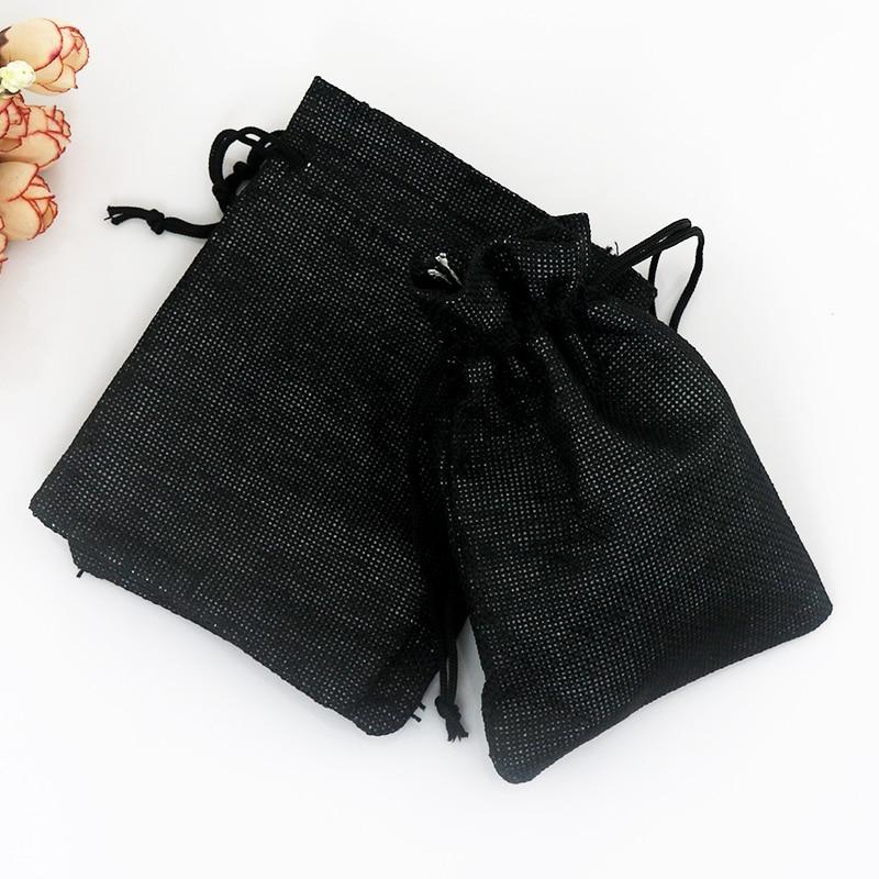 13*18cm 100pcs Black color linen jute bags drawstring gift bag Favor Watch Bracelet jewelry packaging bag Party Burlap Bags