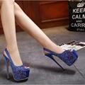 Горный хрусталь свадебные туфли на платформе сандалии партия обуви женщины на каблуках синий сандалии strappy каблуки женщины насосы высокие каблуки сандалии D907
