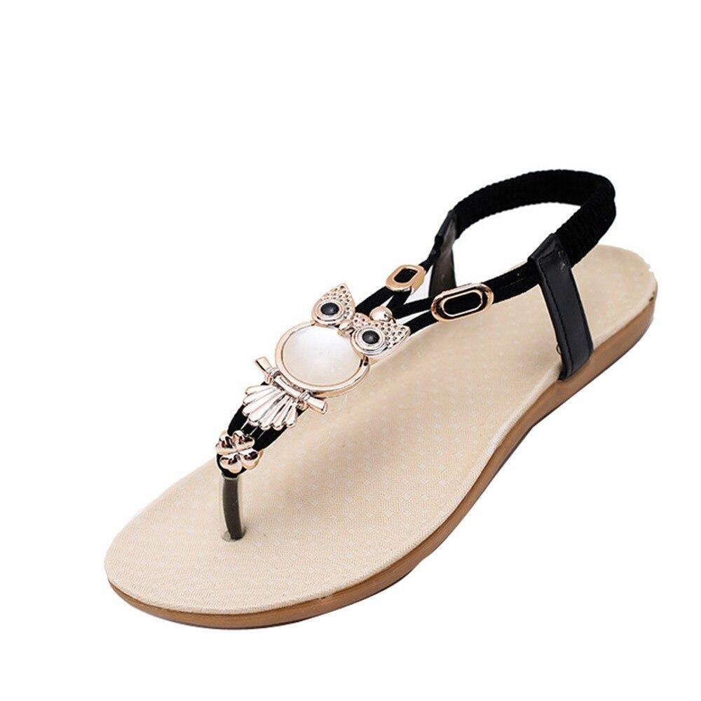 Women Sandals Summer Platform Shoes Fashion Owl Flats Flips Gladiator Sadals Rhinestone Comfortable Female Shoes