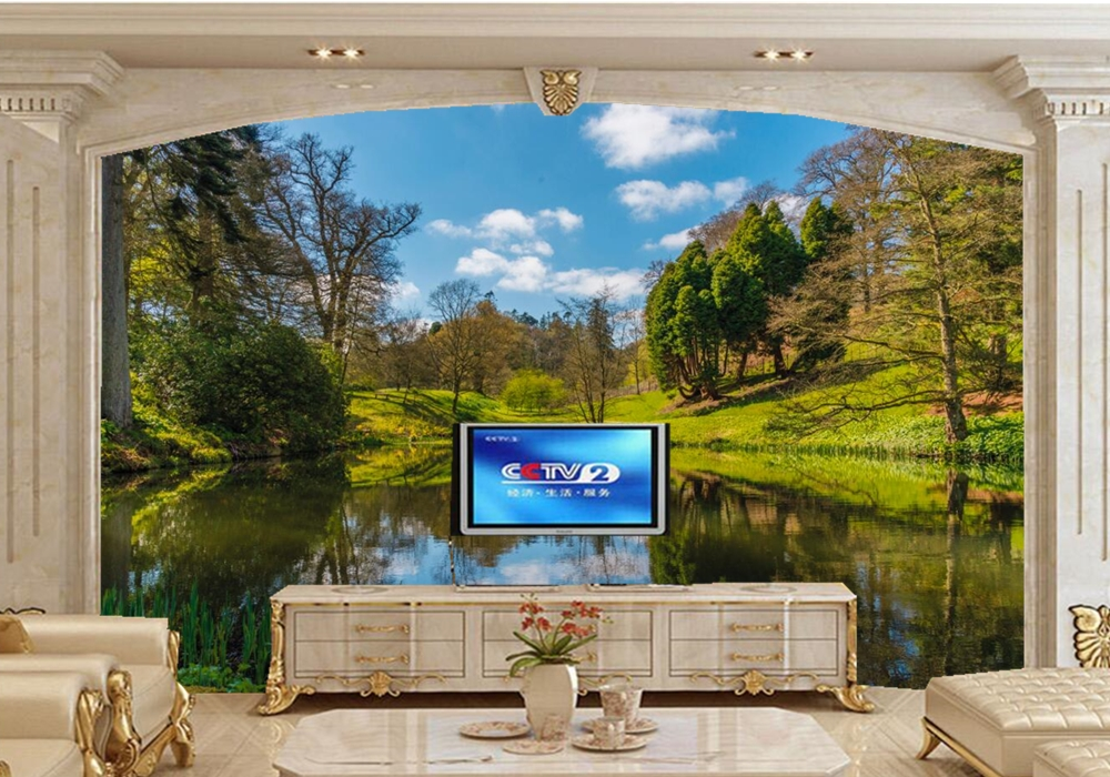 Spring Lake Scenery County Trees Nature photo wallpaper,restaurant  living room tv wall bedroom custom 3d mural custom 3d murals forests trees rays of light tree nature photo wall living room sofa tv wall bedroom restaurant wallpapers
