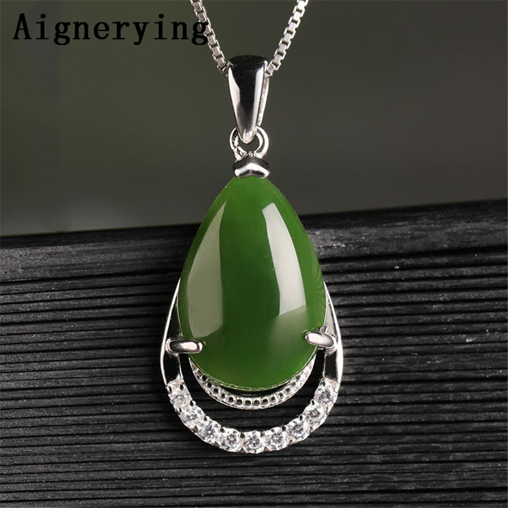 Vintage Necklace Certificate 925 silver Pendant Green Jade Zircon Inlaid Green Jade Cute For Woman Charm Gift with Box Vintage Necklace Certificate 925 silver Pendant Green Jade Zircon Inlaid Green Jade Cute For Woman Charm Gift with Box