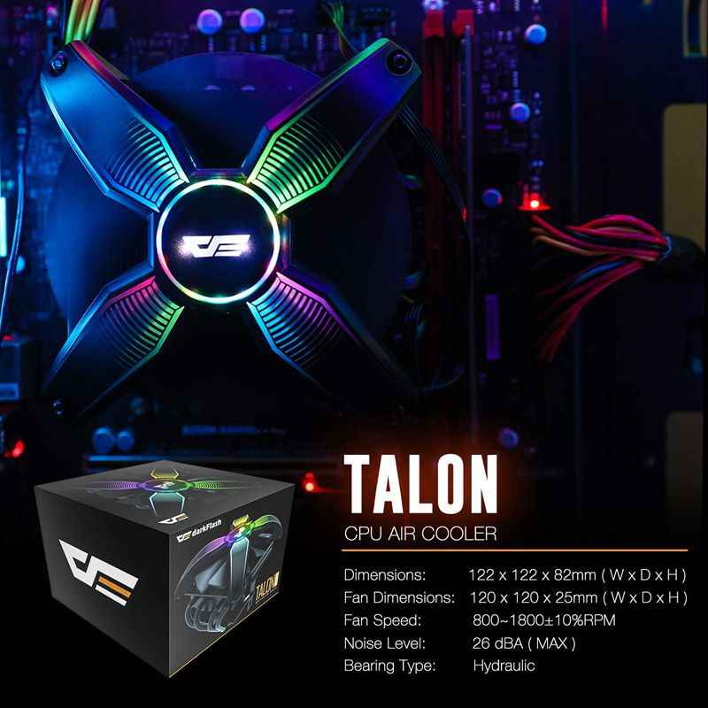 Aigo CPU Kühler Kühler TDP 120W Kühlkörper Stille 120mm 4Pin PC Neueste CPU Kühlung für LGA1155/ 1156/1151 LED Computer Fall Fan