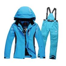 High-quality windproof waterproof skiing jacket+pant snow suit -30 DEGREE ski suit women+men winter clothing set couple models