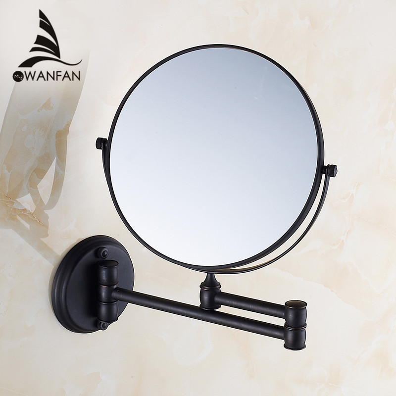 Bath Mirrors 8 Round Wall Makeup Mirror 3X1 Magnifying Mirrors Black Brass Double Side Beauty 360