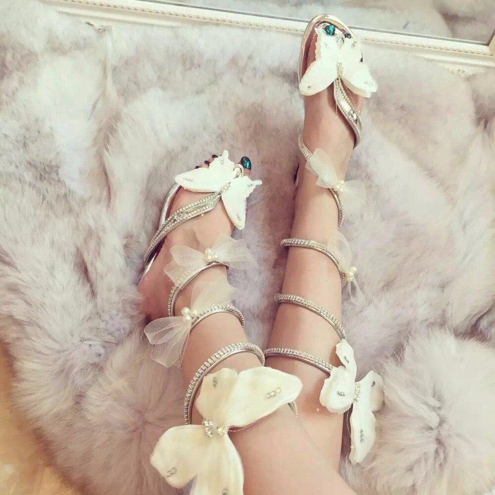 Serpent sangle sandales femmes chaussures d'été plat talons hauts compensés cristal femmes gladiateur papillon sandales ouvert Clip Toe dames chaussure