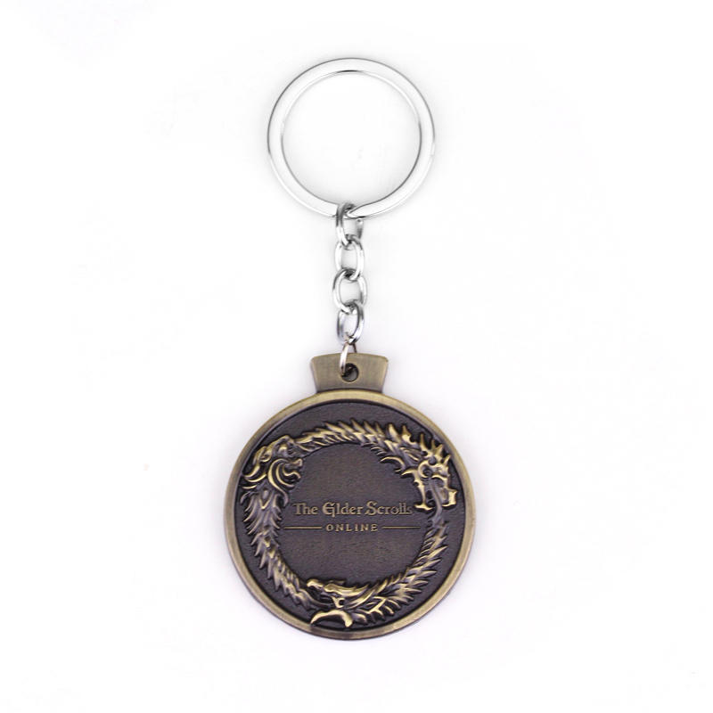 Online Game THE ELDER SCROLLS OUROBOROS PENDANT KEYCHAIN TES Skyrim Bronze Game Key Ring Chain Jewelry