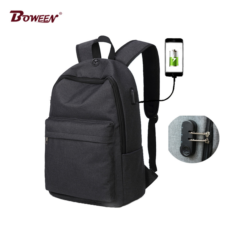 Password lock USB canvas backpack men big casual music backpacks Travel Preppy middle School student College school bags boys Рюкзак