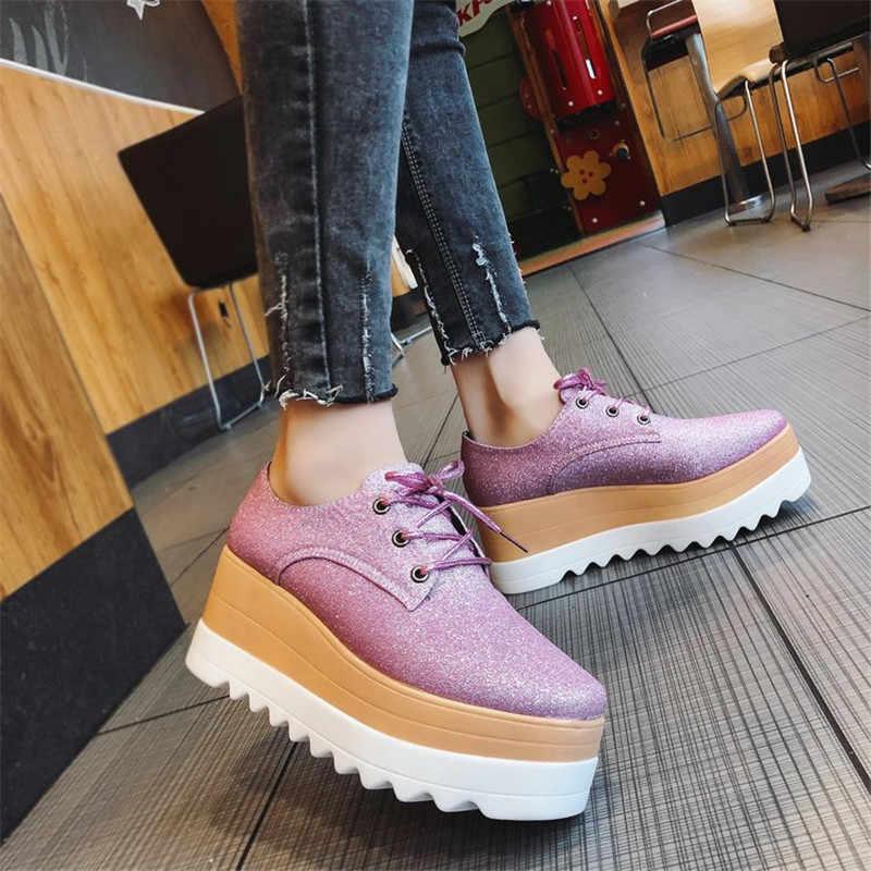 COOTELILI Frühling Frauen Schuhe Flache Plattformen Bling Lace-Up Wedges Sneakers Damen Oxfords Frau Wohnungen Casual Gold Silber