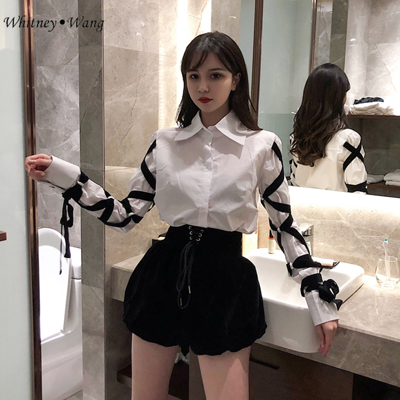 Back To Search Resultswomen's Clothing Whitney Wang 2019 Spring Autumn Fashion Streetwear Ribbons Bandage Blouse Women Blusas Shirt Tops