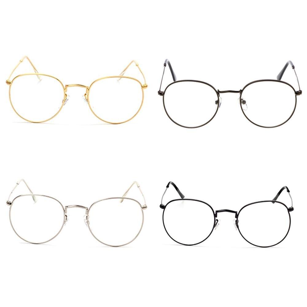 34a04cc9e7 Gafas de lentes transparentes Vintage para hombre y mujer con montura  redonda Retro a la moda