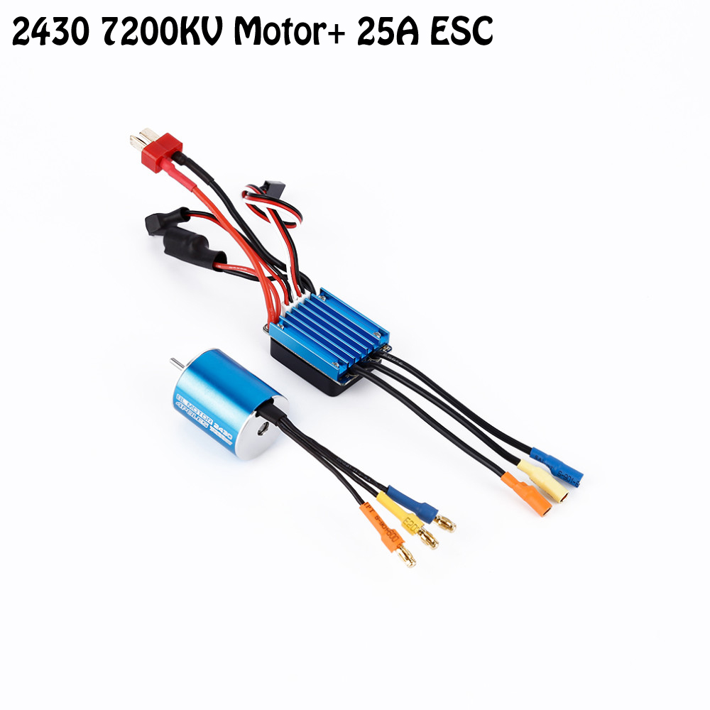 2430 7200KV 4P Sensorless Brushless Motor with 25A ESC Electric Speed Controller for 1/16 1/18 RC Car Truck