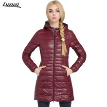 1PC Winter Down Jacket Women Slim Thin Long Coats Winter Coat Women Jaqueta Feminina Inverno Spring Autumn Hooded Outerwear Z589