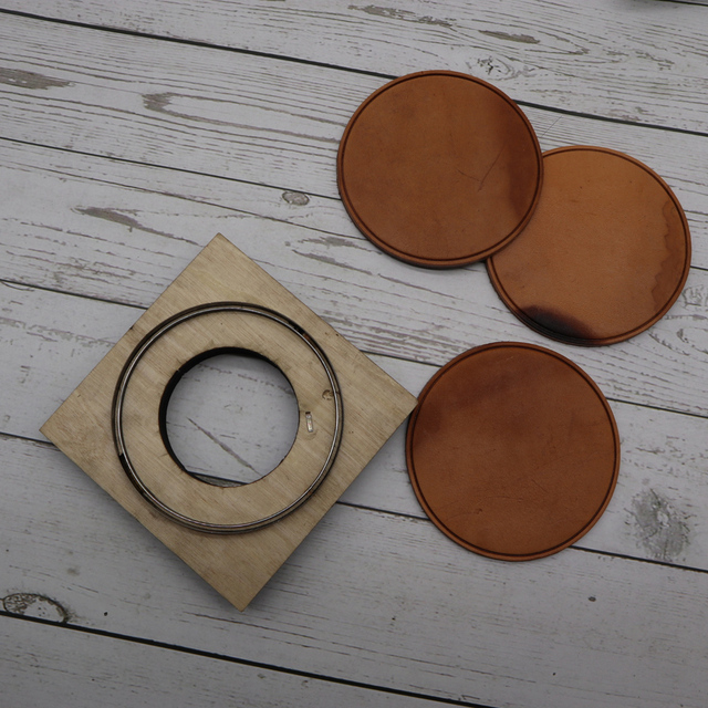 DIY leather craft cup pad mat round line embossed die cutting knife mould hand machine punch tool template