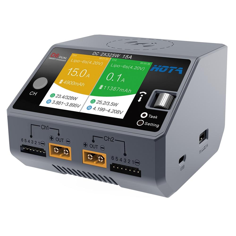 HOTA D6 double chargeur intelligent AC200W DC650W 15A pour Lipo LiIon NiMH batterie avec iPhone Samsung recharge sans filHOTA D6 double chargeur intelligent AC200W DC650W 15A pour Lipo LiIon NiMH batterie avec iPhone Samsung recharge sans fil