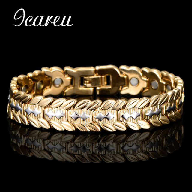 Wholesale Health Magnetic Bracelet Bangle For Men Dubai Wheat Designs Gold Color Stainless Steel Bio Energy Bracelet